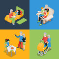 Family oldies granny grandparents grandson flat isometric vector d high quality parenting time icon set grandpa granddaughter Stock Photos