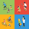 Family outdoor sports play parenting flat 3d isometric vector