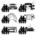 Family outing activities clipart a set of human pictogram representing and at various places cinema zoo underwater theme park Stock Photo