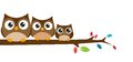 Family of owls sat on a tree branch illustration Stock Image