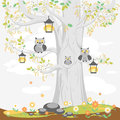 A family of owls on a tree in spring, cute cartoon characters