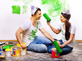 Family paint wall at home happy Royalty Free Stock Image