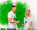 Family paint wall at home happy Royalty Free Stock Images