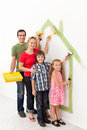 Family painting together Royalty Free Stock Photo