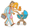 Family or parent couple watching their baby on stroller cartoon illustration of with mother and father playing with a Royalty Free Stock Photo
