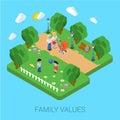 Family parenting people concept flat 3d isometric parents kids