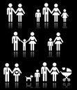 Family parents and children pregnancy icons set vector white of on black background Stock Images