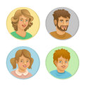 Family parents and children in a round frame Royalty Free Stock Photo