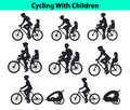 Family, Parents, Man Woman with their children, boy and girl, riding bikes. Safe kids seats and trolleys for traveling cycling Royalty Free Stock Photo