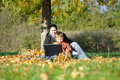 Family in park on autumn Royalty Free Stock Image