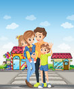 A family at the pedestrian lane illustration of Royalty Free Stock Photos