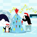 Family of penguins decorates the Christmas tree for Christmas. Illustration in flat style.