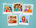 Family photo album. People, parents and children concept. Cartoon vector illustration