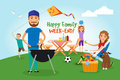 Family picnic bbq party food and barbeque summer and grill vector illustration Stock Image