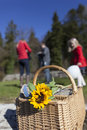 A family on a picnic focus on the basket in the foreground Stock Image