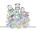 Family on a pile of garbage hand drawn cartoon characters Stock Photos