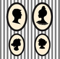 Family piortrait silhouettes set of portraits in the frames Royalty Free Stock Photography