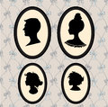 Family piortrait silhouettes set of portraits in the frames Stock Images