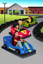 Family playing go kart a vector illustration of happy together Stock Photos