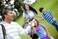 Family playing golf Royalty Free Stock Photo