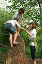 Family playing on tree trunk Royalty Free Stock Photography