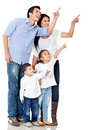 Family pointing with finger Royalty Free Stock Photo