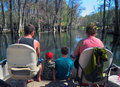Family Pontoon Boating - Ichetucknee River Royalty Free Stock Photo