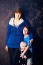 Family portrait aunt and nephews Royalty Free Stock Photos
