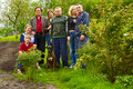 Family portrait and dog outdoors Royalty Free Stock Photo