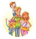 Family portrait. Funny cartoon character