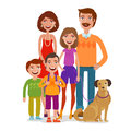 Family portrait. Happy people, children, parents. Cartoon vector illustration Royalty Free Stock Photo