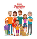 Family portrait. Happy people, parents and children. Cartoon vector illustration Royalty Free Stock Photo