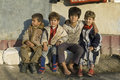 Family portrait of poor roma gypsies romania in the provincial capital city bacau group four children boys sitting close together Royalty Free Stock Photography