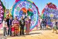 Family posing, Giant kite festival, All Saints' Day, Guatemala Royalty Free Stock Photo