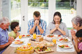 Family praying together before meal Royalty Free Stock Photo