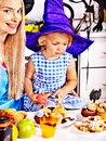 Family preparing halloween food mother with daughter Stock Images