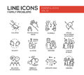 Family problems- line design icons set Royalty Free Stock Photo