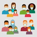 Family in protective medical masks. Protection mask against virus, infectious diseases and flu. Vector Royalty Free Stock Photo