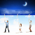 Family pulling banner image of young happy with night illustration Stock Photo