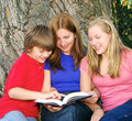 Family reading a book Royalty Free Stock Photos