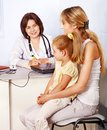 Family on reception at doctor. Royalty Free Stock Photos