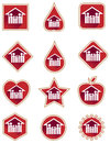 Family red icon set