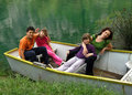 Family relaxing on boat Royalty Free Stock Photo