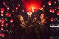 Photo : Family release sky lanterns for the humanitarian action, Novi Sa   street