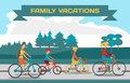 Family ride bike on highway. Healthy leisure and freedom riding Royalty Free Stock Photo