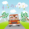 Family rides in car with music