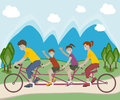 Family Riding Bicycle Royalty Free Stock Photo