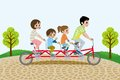 Family riding tandem bicycle in the park illustration of who Royalty Free Stock Photos