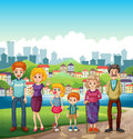 A family at the riverbank illustration of Royalty Free Stock Photo