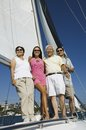 Family on sailboat portrait Royalty Free Stock Photos